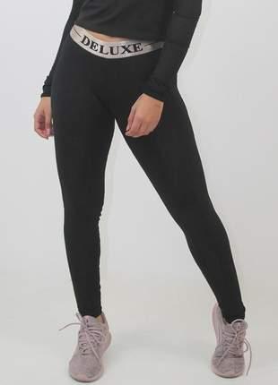 Calça legging fitness preto deluxe moda fitness