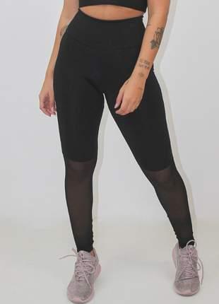Calça legging fitness preta transparencia moda fitness