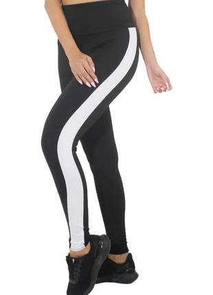 Calça legging fitness preto com listra branca moda fitness