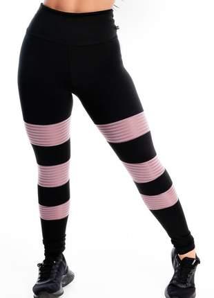 Calça legging fitness detalhe 3 listras rose perna moda fitness