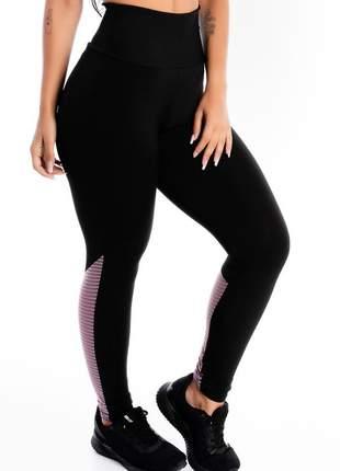 Calça legging fitness preta detalhe violeta moda fitness