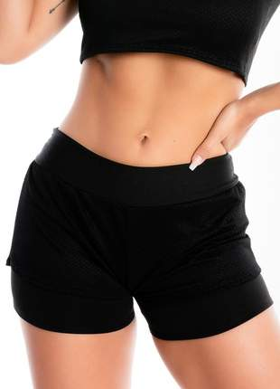 Short saia corrida preto com tela moda fitness