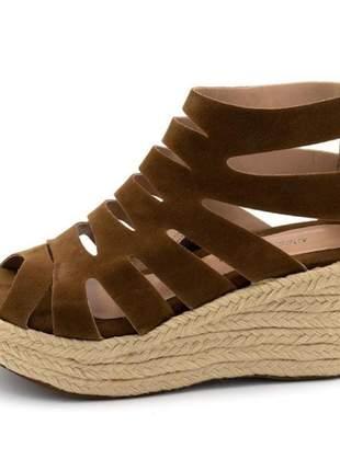 Sandália anabela salto médio boneca feminina confortável