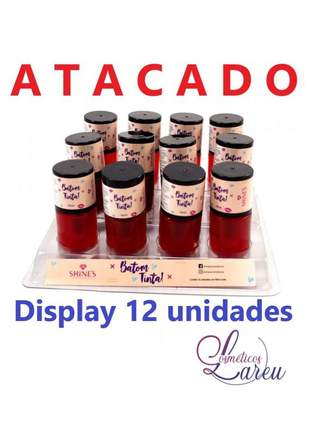Display de batom tinta lip tint shine´s (12 unidades e 3 cores) lareu