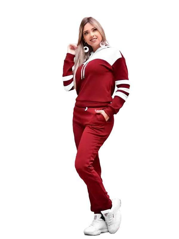 Conjunto blusa e calça feminino moletom frio inverno r:1063(vermelho)