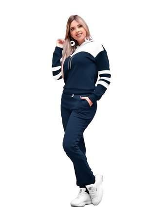 Conjunto blusa e calça feminino moletom frio inverno r:1063(azul-marinho)