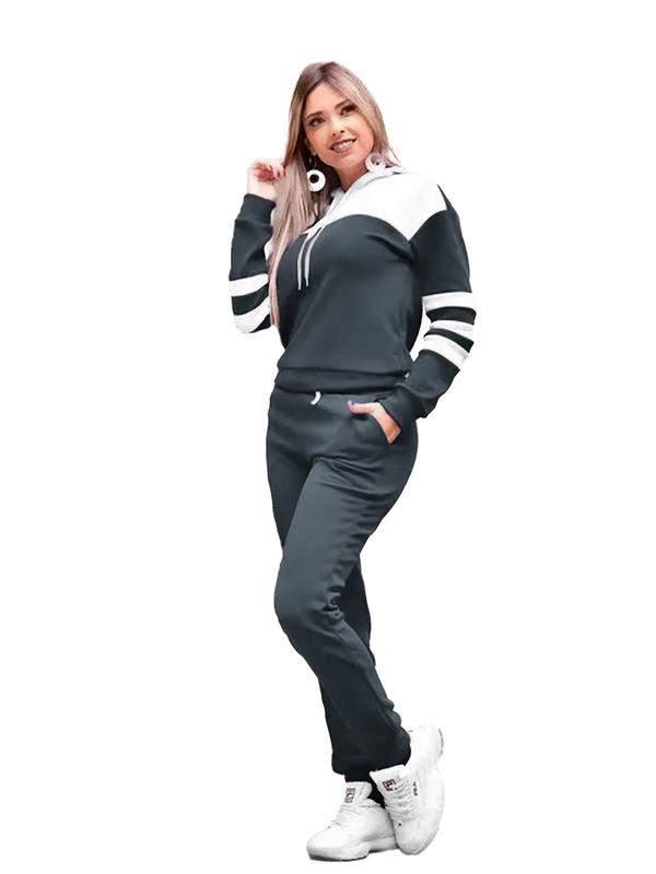 Conjunto blusa e calça feminino moletom frio inverno r:1063(chumbo)