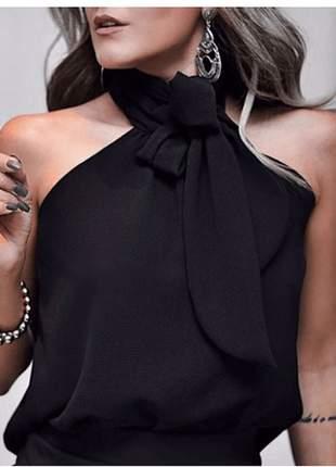 Blusa feminina gola alta com laço