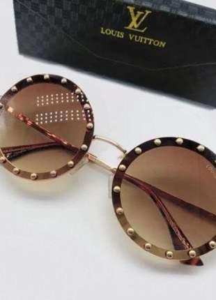 Oculos de sol louis vuitton round redondo com strass