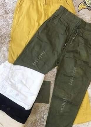 Calça feminina destroyed sarja com elastano cintura elástico