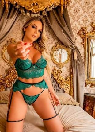Sutiã calcinha renda cinta liga conjunto lingerie p - gg