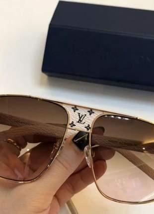 Óculos de sol louis vuitton luxo aviador unisesex