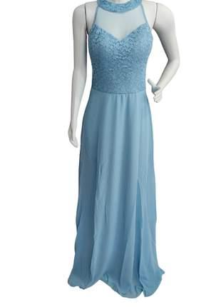 Vestido plus size azul serenity de festa madrinha casamento cores formatura g1 mãe noivos