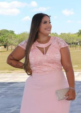 Vestido plus size de festa modelo luxo madrinhas formatura mãe de noivos longo manguinha