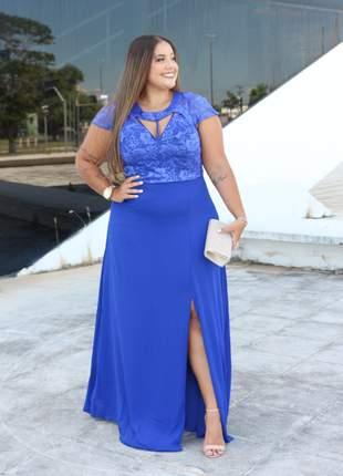 Vestido plus size longo festa casamento madrinhas formandas azul royal, nude e marsala