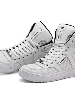 Tênis bota academia sneaker cano alto top fitness em couro branco oferta