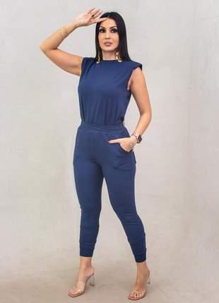 Conjunto moletinho com elastano calça e blusa muscle-t, tamanho m e g