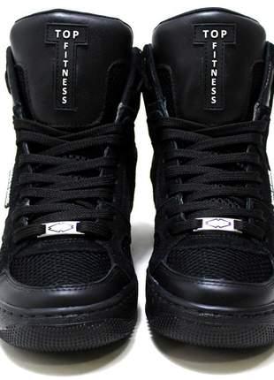 Tenis botinha sneakers academia cano alto top fitness preto lançamento oferta.