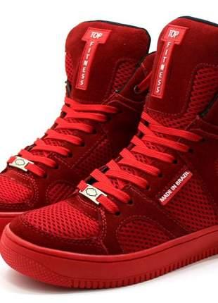 Tenis sneakers academia cano alto top fitness todo vermelho lançamento