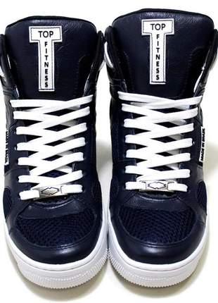 Tenis botinha sneakers cano alto  couro azul marinho lançamento promoção.
