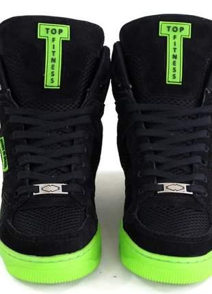 Tenis sneakers academia cano alto top fitness preto/verde lançamento barato
