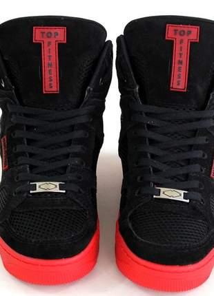Tenis sneakers cano alto top fitness preto/vermelho oferta