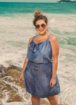 Conjunto saia e blusa jeans leve plus size verão 2019
