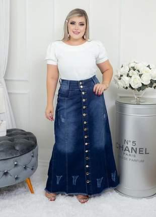 Saia jeans longa plus size destroyed moda evangélica gospel