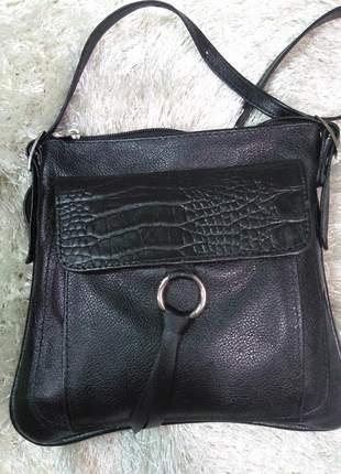 Bolsa em couro legitimo transversal pequena com tampa em croco