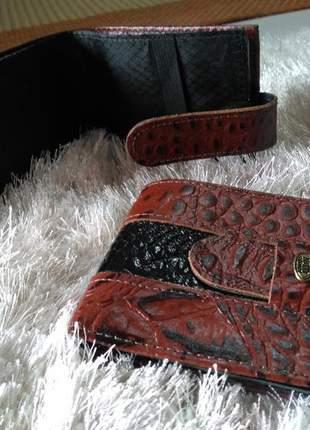 Carteira em couro legitimo com porta talões / cartões /moedas /notas