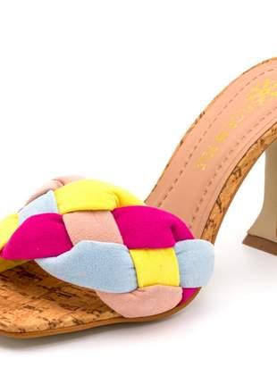 Sandália salto alto taça bico quadrado feminina confortável ref 60007