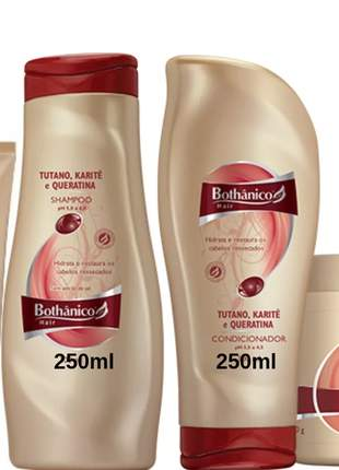 Kit tutano karite bothanico hair shampoo condicionador creme silicone e mascara 500g