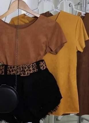 Camiseta blusinha suede t-shirt