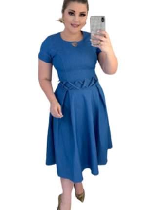 Vestido jeans midi rodado gode moda evangelica blogueira
