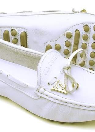 Mocassim confort de couro resistente e charmosa