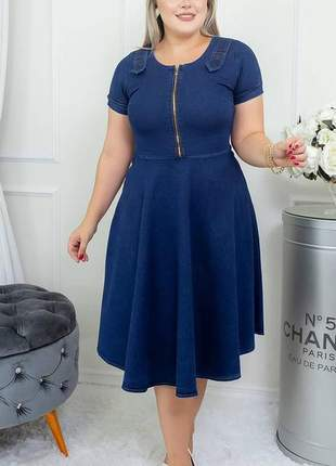Vestidos para festas evangelico gode com zíper midi rodado jeans moda evangelica