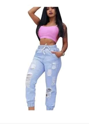 Conjunto feminino calça jogger jeans destroyed top cropped