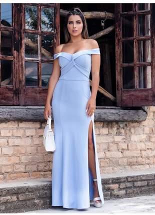 Vestido longo de festa madrinha casamento noiva azul serenity batizado convidadas