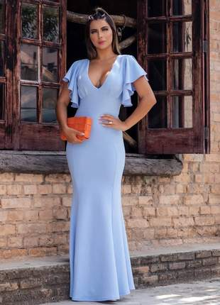 Vestido de festa longo manguinha azul serenity madrinha casamento batizado eventos