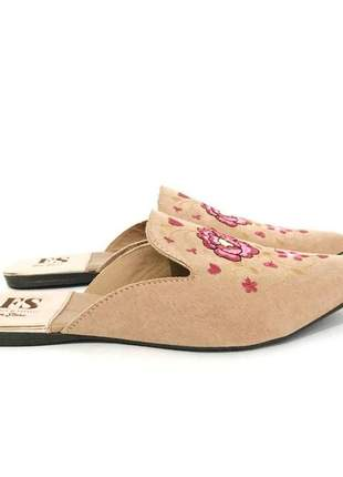 Mule maila nude fun store bordado floral rosa confortavel bico fino
