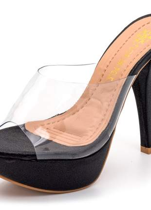 Sandália tamanco cristal salto alto feminina confortável ref 190207