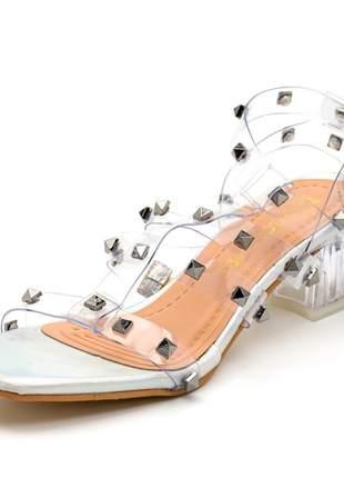 Sandália transparente salto bloco cristal feminina confortável ref 90000
