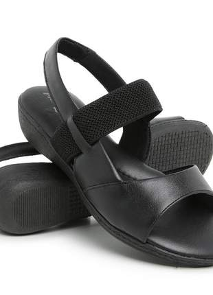 Sandália confort em couro feminina ortopédica total conforto