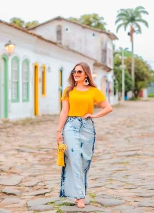 Saia jeans longa sereia joyaly moda evangélica feminina