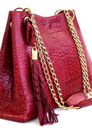 Bolsa em couro croco luxo corrente vermelha.