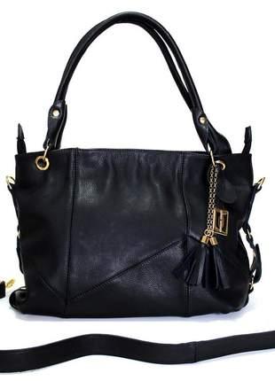 Bolsa luxo couro 100% original clara borges preta.