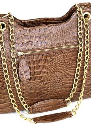 Lançamento bolsa em couro croco 100% estilosa, luxo.