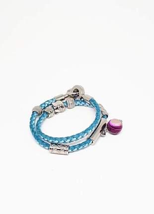 Pulseira de couro azul com cristal de ágata pink mesclada