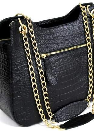 Bolsa lançamento em couro 100%  estilosa super luxo preta.