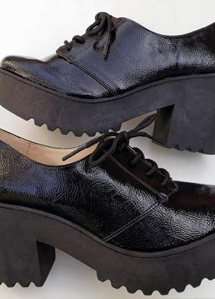 Sapato oxford feminino preto salto alto tratorado 34